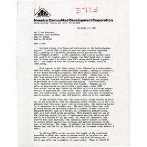 Letter from Melvyn Colón to Ellen Anderson of Episcopal City Missions.