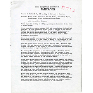 Minutes of March 20, 1984 meeting of the Board of Directors.
