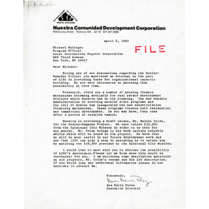 Letter from Ana Maria Perez to Michael Rubinger.