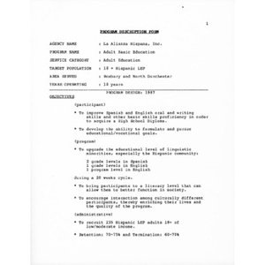 Program description form.