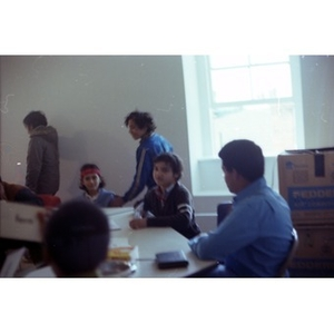 Group of six teenagers participating in a classroom at La Alianza Hispana, Boston.