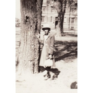 Unidentified woman poses against a tree in Madison Park.