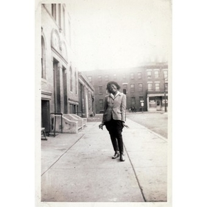 Unidentified girl poses on Haskins Street.