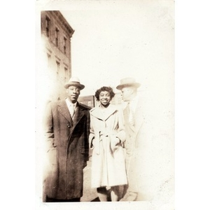 Winifred Irish Hall poses with Russell and Babe Harris.