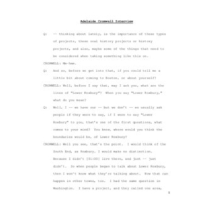 An Interview with Adelaide M. Cromwell, April 1, 2009 [transcript]