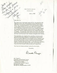Letter from President Ronald Reagan to Dr. Frank Fu, June 1, 1982