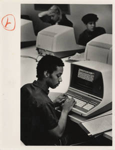 Student typing a paper