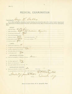 Medical examination form for George Lewis Gabler, June 25, 1892