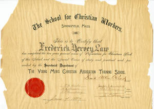 Diploma awarded to Frederick Law in 1887