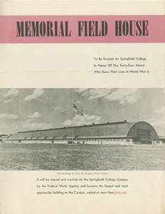 Alumni war memorial fundraising pamphlet for the Memorial Field House, 1947
