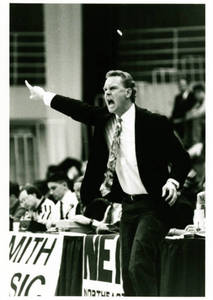 Coach Michael D. Theulen pointing down the court (1990-1991)