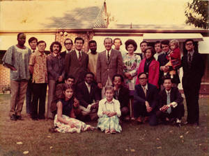 "International students outside of Dr. Attallah A. ""Ted"" Kidess's home (1972)"