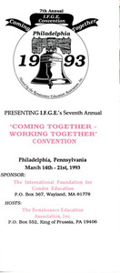 """Brochure for IFGE's 7th Annual """"Coming Together - Working Together"""" Convention (March 14-21, 1993)"""
