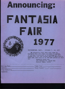 Announcing: Fantasia Fair (Oct. 7 - 16, 1977)