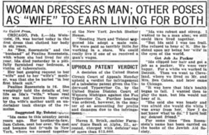 """Woman Dresses as Man; Other Poses as """"Wife"""" to Earn Living for Both"""