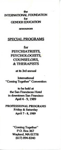 """Brochure for IFGE's 3rd Annual """"Coming Together"""" Convention (April 4-9, 1989)"""