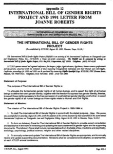 Appendix 12: International Bill of Gender Rights Project and 1991 Letter from JoAnn Roberts