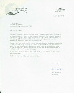 Letter from Bet to Lou (August 31, 1986)