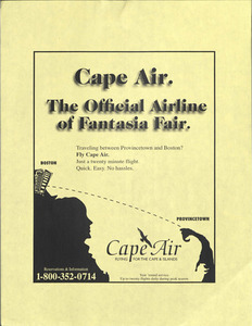 Cape Air. The Official Airline of Fantasia Fair.