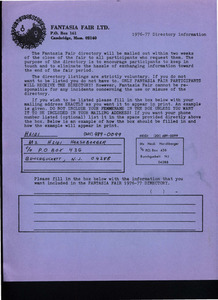Fantasia Fair 1976-1977 Directory Information Form