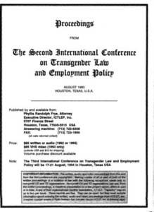 Proceedings from the Second International Conference on Transgender Law and Employment Policy