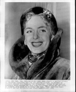 Close-Up of Christine Jorgensen Upon Arrival at New York Idlewild Airport