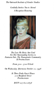 Invitation to Reception in Honor of Betty Ann Lind