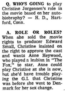 Who's Going to Play Christine Jorgensen's Role?