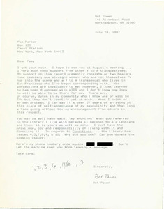 Letter from Bet to Pam Parker (June 24, 1987)