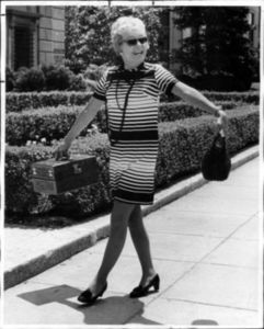 Christine Jorgensen Walks Down the Street in Hollywood