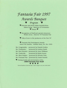 Fantasia Fair 1997 Awards Banquet Program