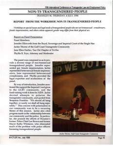 Report from the Workshop, Non-TS Transgendered People