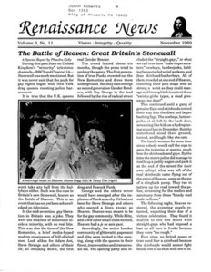 Renaissance News, Vol. 3 No. 11 (November 1989)