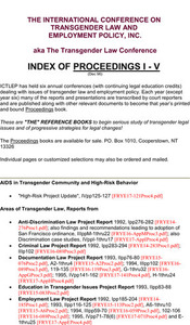 The International Conference on Transgender Law and Employment Policy, Inc.: Index of Proceedings I-V