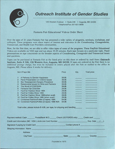 Fantasia Fair Educational Videos Order Sheet