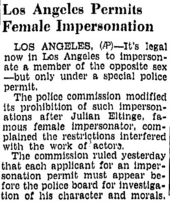 Los Angeles Permits Female Impersonation