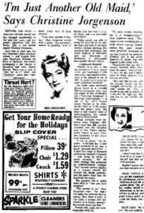 'I'm Just Another Old Maid.' Says Christine Jorgenson