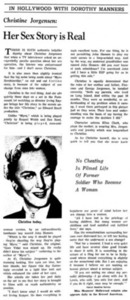 Christine Jorgensen: Her Sex Story is Real