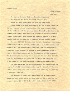 Tiffany Club Letter by Laura Granger and Joan Hoff
