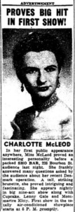 Proves Big Hit In First Show!: Charlotte McLeod