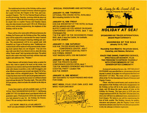 Brochure for the Holiday At Sea (Jan. 15-19, 1998)