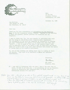 Letter from Bet to Lou (November 16, 1986)