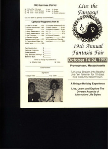 Live the Fantasy! 19th Annual Fantasia Fair (Oct. 14 - 24, 1993)