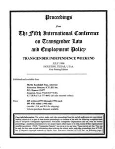 Proceedings from the Fifth International Conference on Transgender Law and Employment Policy