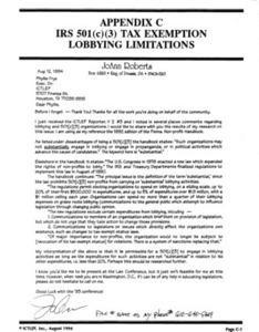 Appendix C: IRS 501(c)(3) Tax Exemption Lobbying Limitations