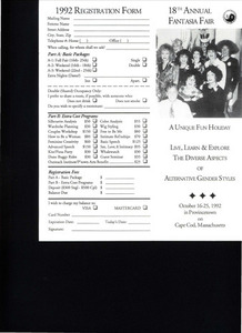 18th Annual Fantasia Fair Brochure (Oct. 16 - 25, 1992)
