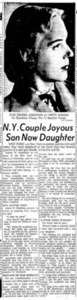 N.Y. Couple Joyous Son Now Daughter