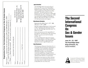 Brochure for the Second International Congress on Sex and Gender Issues (June 19-22, 1997)