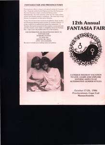 12th Annual Fantasia Fair Brochure (Oct. 17 - 26, 1986)