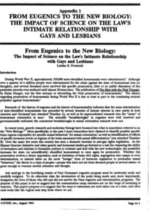 Appendix 1: From Eugenics to the New Biology: the Impact of Science on the Law's Intimate Relationship with Gays and Lesbians
